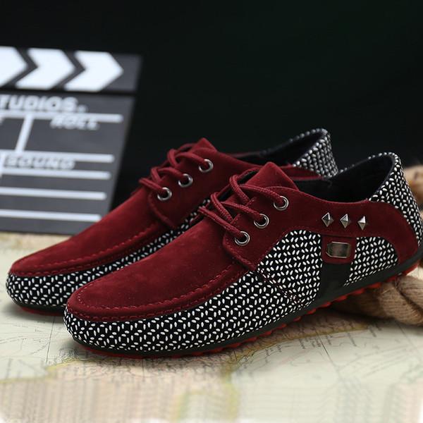2017 Outono Nova Moda respirável Suede Red inferior Mens Shoes Low Top Casual Sapatos Flats Shoes Condução Rojo Hombres Zapatillas c29