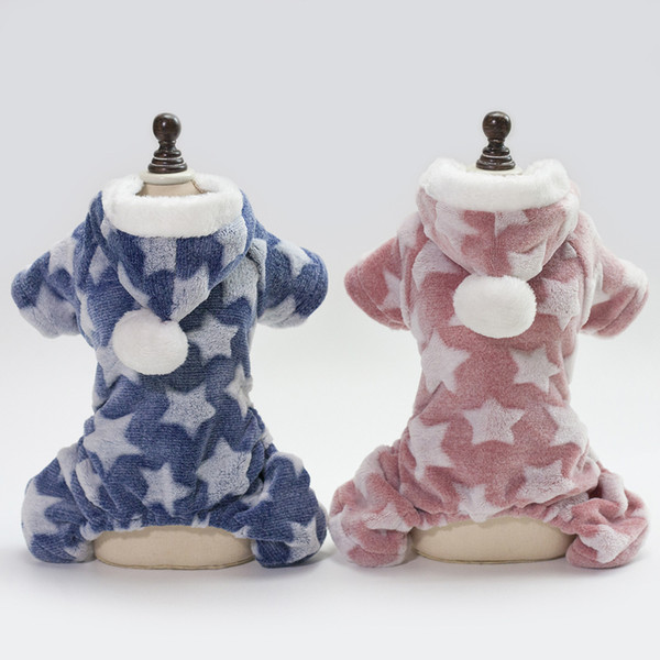 Dog clothes dog hoodies pet clothes for dogs coat jackets autumn and winter 18 stars four legged fleece Cold and warm easy to wear