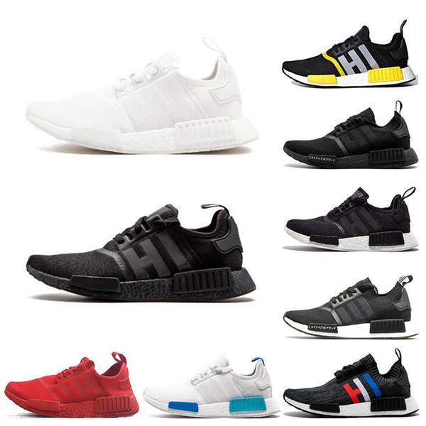 2019 NMD R1 runner running shoes for men women OG triple black white japan SOLAR RED mens trainer breathable sports sneakers