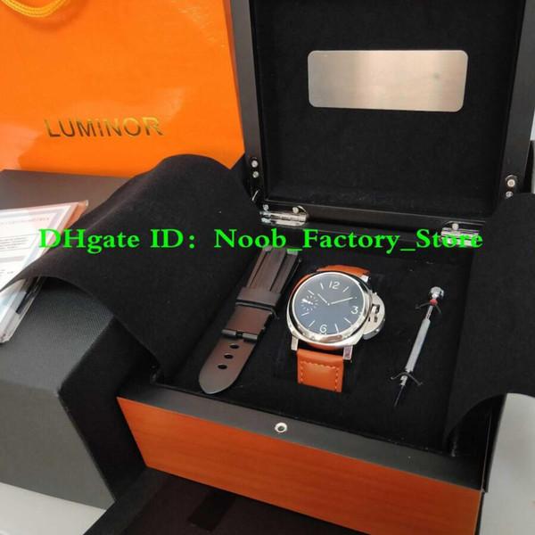Usine New Shoot MONTRE 44mm Noir Visage Bracelet Brun Super P 111 Mécanique À Remontage Manuel Mouvement De Mode Hommes Montres avec Origina Box