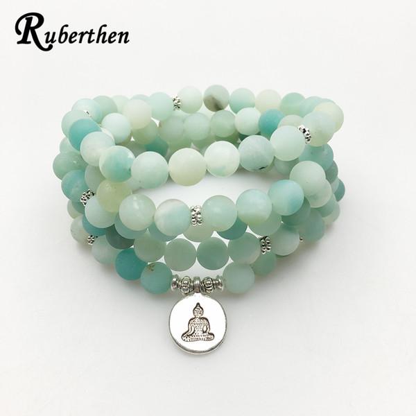 Ruberthen 2017 New Design Ab+amazonite Mala Beads Bracelet Trendy Yoga Necklace High Quality Handmade Natural Stone Bracelet Y19051002