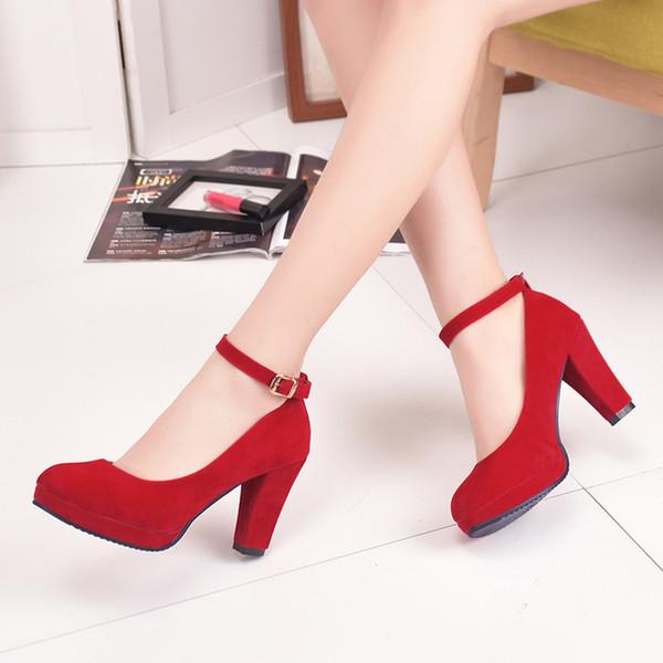 Primavera Verão 2019 Rodada Cabeça Fivela Preta Sapatos de Trabalho das Mulheres Vestido Único Sapato Feminino Tira No Tornozelo Salto Alto Sapatos Femininos Senhoras Sapatos De Casamento
