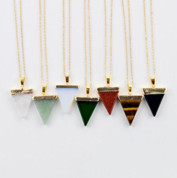 Pierre Naturelle Cristal Quartz Point De Guérison Chakra Pierres Précieuses Plaqué Or Triangle Pendentif Colliers Bijoux De Pierre Cristal Bijoux