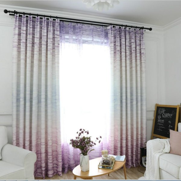 Modern Nordic Minimalist Window Curtain For Living Room Gradient Impression Wall Brick New Design Curtain Tulle Fabric
