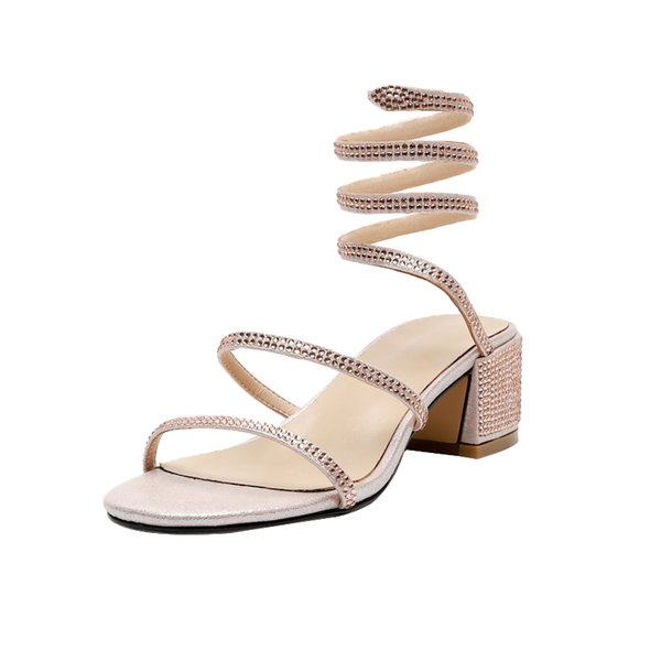 2019 Hottest Fashion Crystal Serpentine winding Open Toe Sexy Thin High Heel Party Summer Women Sandals Four Color Normal Size