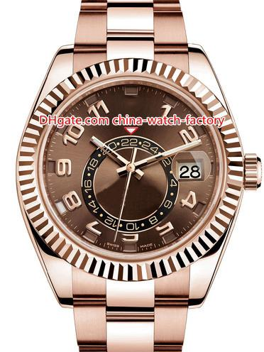 8 estilo Top qualidade Topselling 42 milímetros Sky-Dweller GMT Workin 326935 326938 326933 ouro 18k Ásia 2813 Movimento Mens Automatic Watch Watches