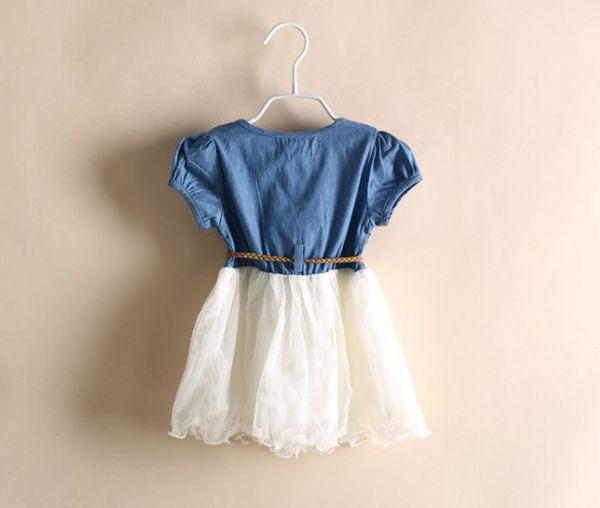 The kids girl and baby 2019 summer new fund denim gauze skirt lace princess skirt dress Lolita Style