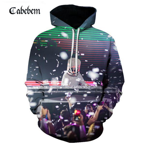 2019 new autumn men's hoodie fashion hot style 3D printing marshmallow DJ casual daily street style hip hop men's sweatshirt
