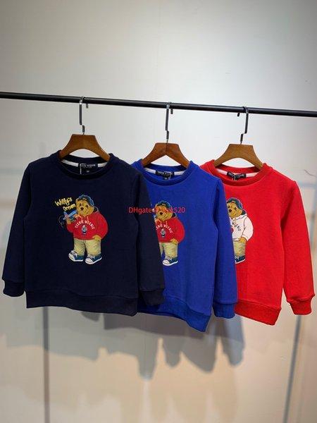 Crianças Camisolas Casual Designers de moda Crianças Urso Crianças Blusas Coréia Nano Tecido De Algodão De Veludo 110-150