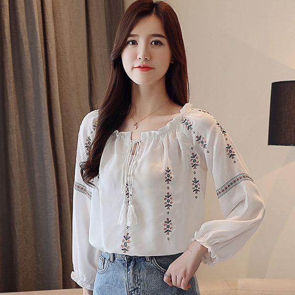 Белая хлопковая рубашка Осень Женская мода Блузка с длинным рукавом Повседневные топы Свободная рубашка Рабочая одежда Blusas Feminina