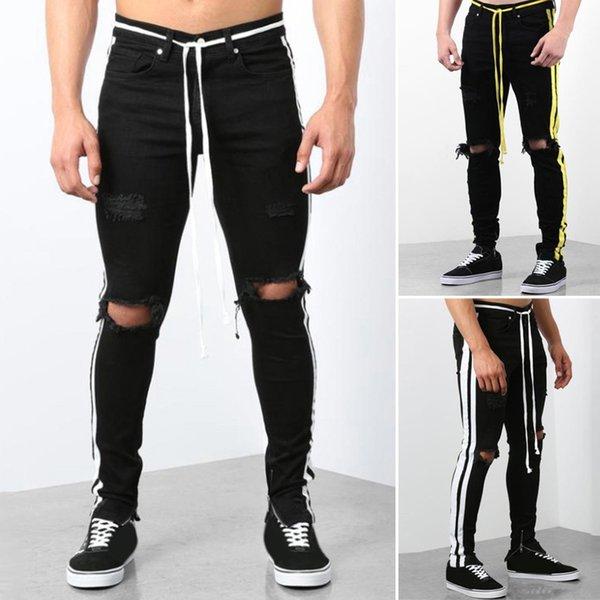 S-3XL Men Pants Hip Joggers Pants Men's Fashion Denim Cotton Straight Hole Trouser Distressed Jeans Long Pant Sweatpants 2019