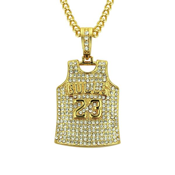 Luxus Diamant Herren Halskette Hip Hop Designer Halskette Persönlichkeit Nr. 23 Jersey Iced Out Anhänger Exquisite Cuban Link Modeschmuck