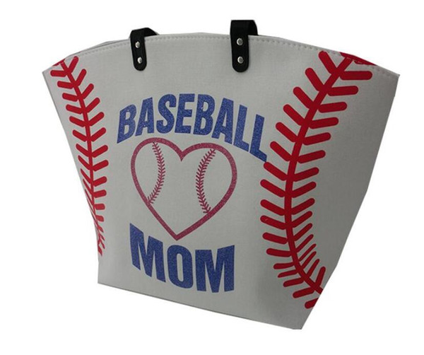 2019 new design canvas football baseball softball tote bag for mom sports tote purse stitching women cotton canvas bags