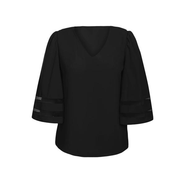 Shi Ying europeus e americanos das mulheres novas tops com decote em V malha costura mangas de sete pontos soltas das mulheres tamanho grande T-shirt 251204
