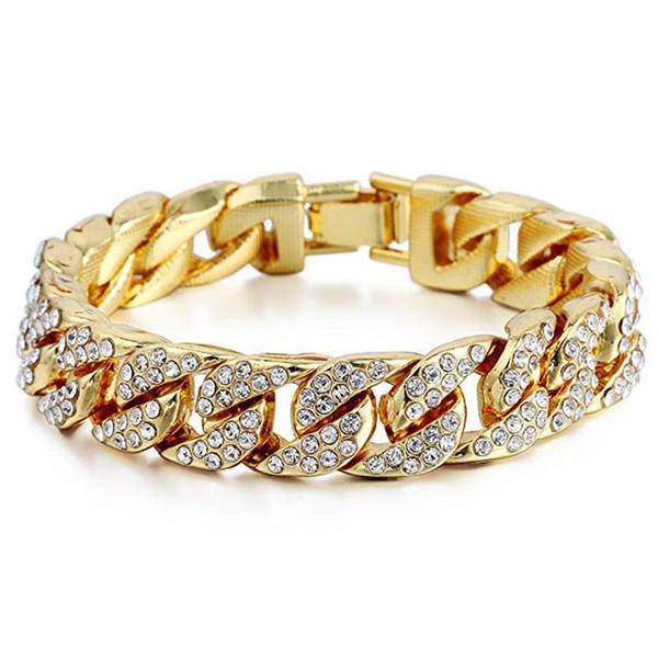 Luxury Cuban Link Bracelet Gold Plated Hip Hop Mens Bracelets Clear Rhinestones Designer Bracelet Fashion Women Men Designer Jewelry