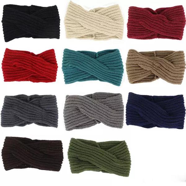 Venta al por mayor 11 colores Winter Weave banda de pelo niñas diadema diseñador diadema de lujo diademas regalos bufanda principal regalos de Navidad para mujeres