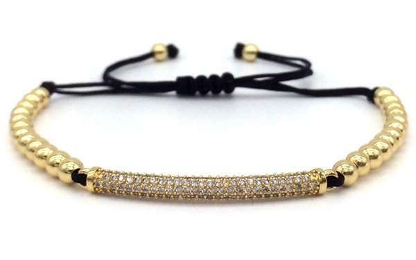 2019 New Micro Pave Black CZ Long Tubes intrecciati Macrame Charm Bracciali Bangles Beads Gioielli regalo per gli uomini