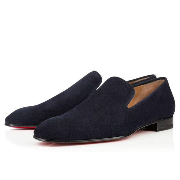 Brand Red Bottom Loafers Luxury Party Wedding Shoes Designer BLACK PATENT LEATHER Suede Dress Shoes For Mens Slip On Flats 05