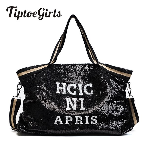 Sequin Women Bags Female Large Capacity Top-handle Bags Appliques Lady's Handbags National Casual Tote Girl Messenger BagsMX190823