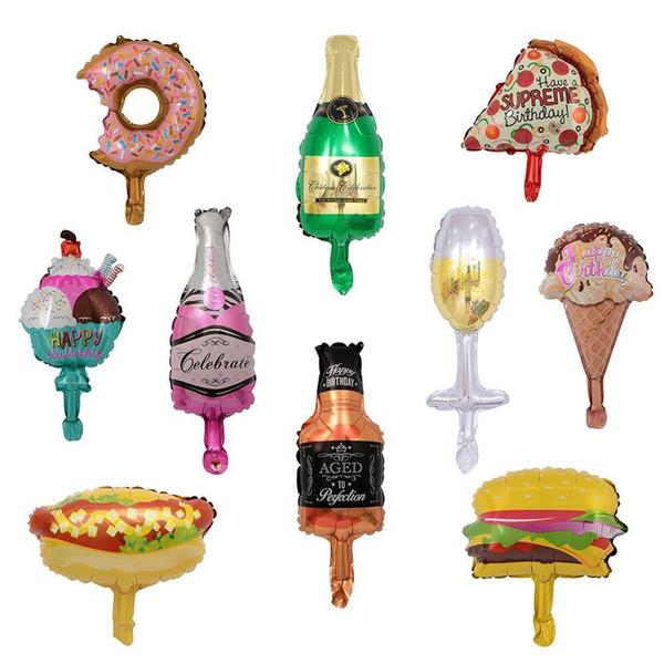 50 шт. / лот мини шампанское Золотая бутылка мороженое конус пицца пончик гамбургер Кубок виски фольга шары день рождения декор Y19061704