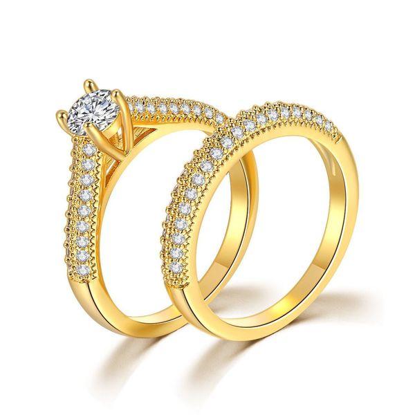 MGFam (311R) 2 Ring Set For Women Female 24 k Pure Gold color Fashion Jewelry Bijoux Cubic Zircon Original Design