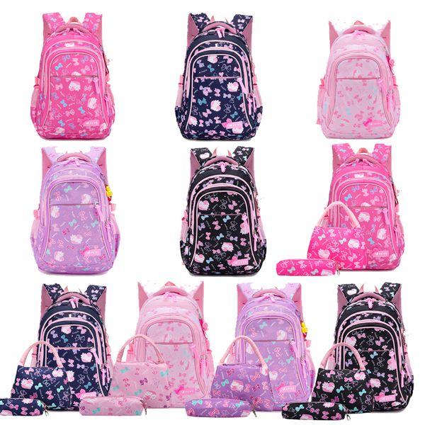 Student School Bag Suit Back To School Girl Bow Cat Printed Zipper Shoulder Bag Handbag Pen Bag Three-Piece Set