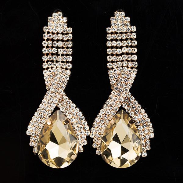 Accessoires de mode super corp cristal mousseux grosses boucles d'oreilles pour les femmes longues boucles d'oreilles boucles d'oreilles de mariage bijoux # E001