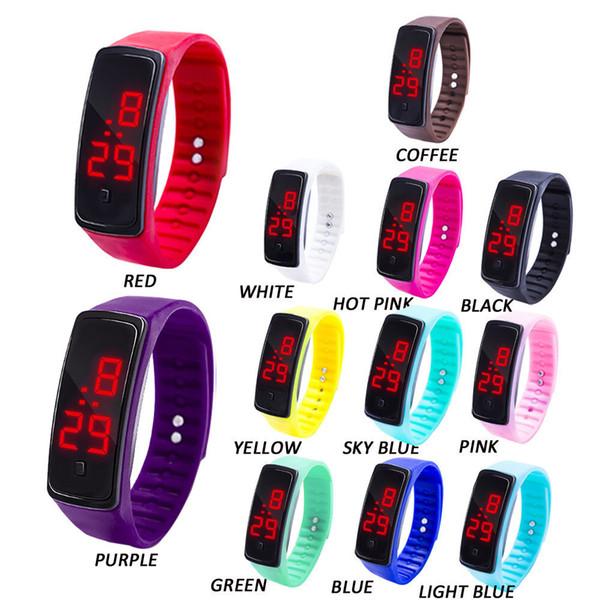 Moda Masculina Das Mulheres Casual Esporte Pulseira Relógios LED Branco Eletrônico Digital Color Candy Silicone Relógio de Pulso para Crianças Dos Miúdos