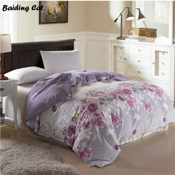 Hot Sale New Design Purple Flowers Quilt Cover 1pc Super Soft Cotton Duvet Cover for Home Bed Twin Full Queen Size Free Shipping