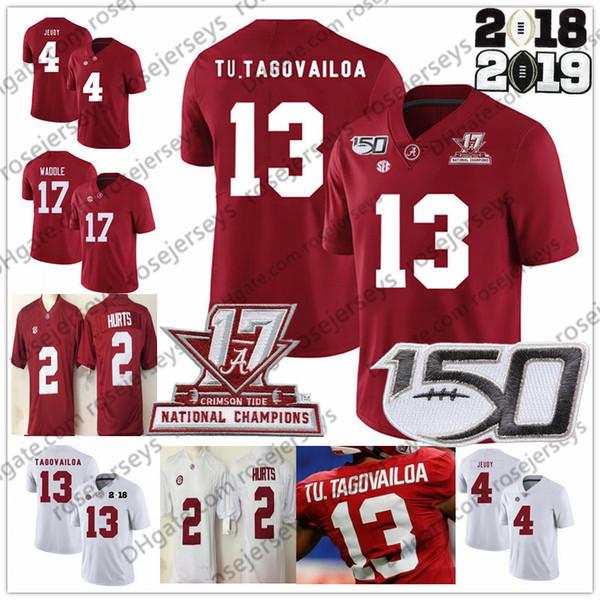 2019 Alabama Crimson Tide # 13 Tua Tagovailoa NCAA Jersey 150º 4 Jerry Jeudy 17 Jaylen Waddle fere o Ridley Najee Harris vermelhas brancas dos Campeões