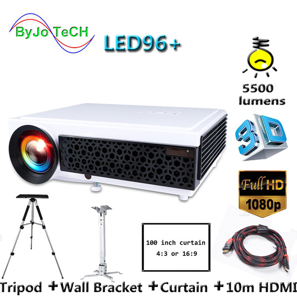 best selling Poner Saund LED96+ LED Projector 5500 Lumen Full HD projector 1080P With 10m HDMI Tripod 3D Proyector LCD Vs led96 bt96 m5
