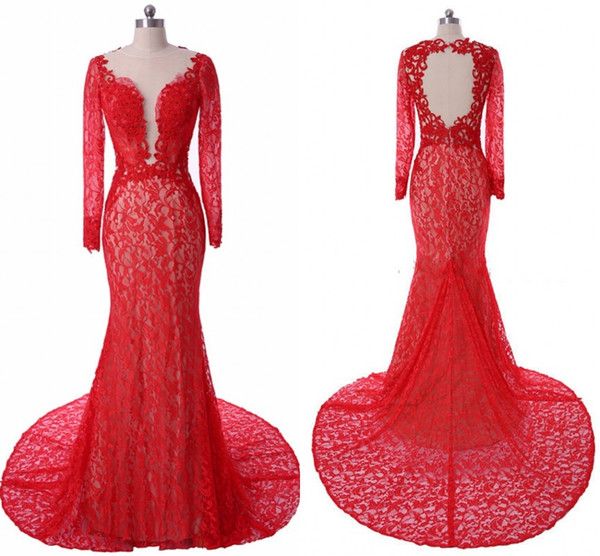 Red Lace Long Sleeve Evening Dress Mermaid 2019 Jewel Beaded Dresses Evening Wear Open Back Prom Dress Formal Gowns Special Occasion Dress