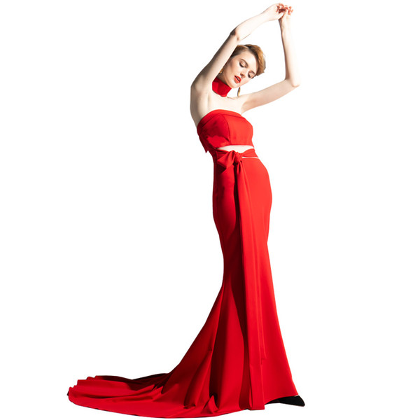2019 Sexy Red Satin Two Pieces Evening Dresses Custom Sweep Train Sheath Prom Dresses Strapless Women Formal Party Gowns With Sashes