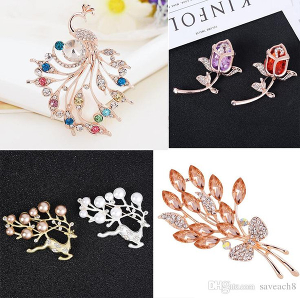 Fashion Women Large Brooches Lady Flower Swan Peacock Imitation Pearls Rhinestones Crystal Wedding Brooch Pins Jewelry Accessorise