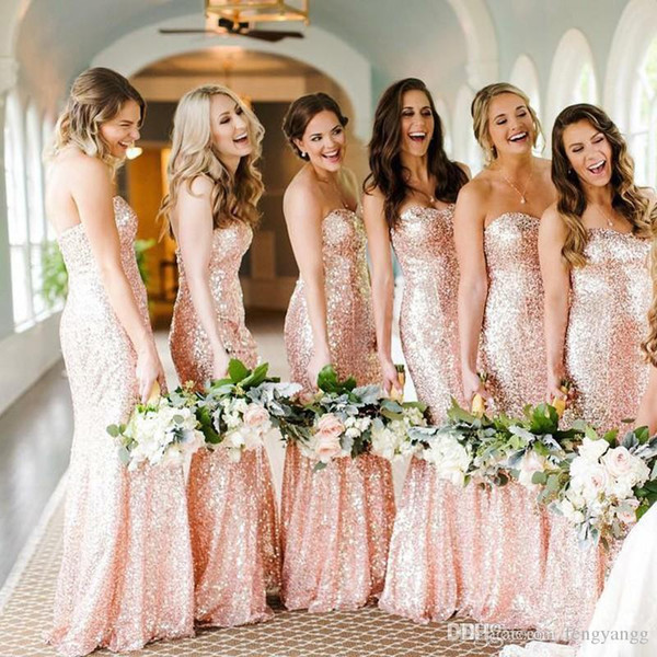 Sexy Pink Sequined Bridesmaid Dresses 2019 Cheap Custom Made Sweetheart Long Wedding Guest Dress Mermaid Evening Party Gowns