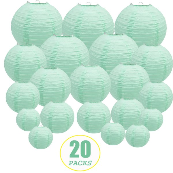 20 Pcs 6-12inch Mint Green Paper Lanterns Chinese Japanese Round Lampion for Wedding Party Lampion De Mariage Hanging Diy Decor