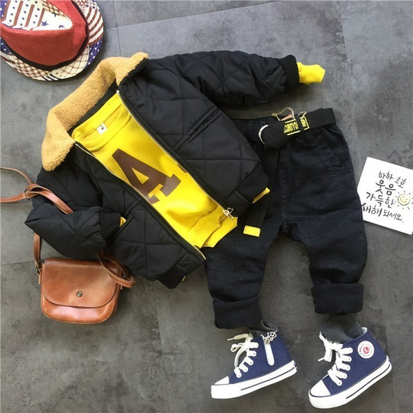 Winter Suits For Boys Warm Thicken Jacket Coat Letter Printing Sweatshirt Pants Toddler Boys Clothing Set 3 4 5 6 7 Y Kids 3pcs J190716
