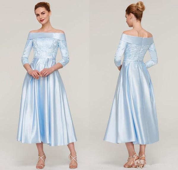 A-line Off-the-Shoulder 3/4 Sleeve Tea-Length Mother of the Bride Dresses With Applique Light Sky Blue Women Formal Evening Dresses