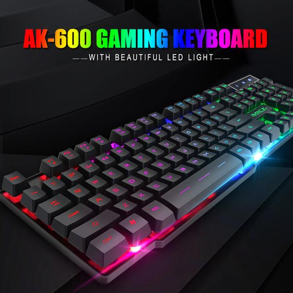 iMice Gaming Keyboard Mechanisches Feeling 104 Tasten RGB beleuchtete Tastatur Computer Gamer für DOTA CS mit RU-Aufklebern