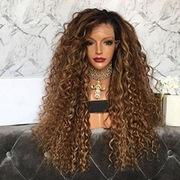 Brazilian human #1bt/30 Full Lace Wig Brazilian Virgin Hair deep wave Lace Front Human Hair Wig With Dark Roots For black Women
