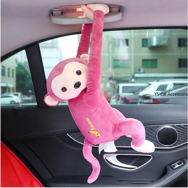 Cute Monkey Car Hanging Tissue Paper Holder Cover for Car Back Seat Headrest Armrest Sun Visor Accessories for Boy Girls