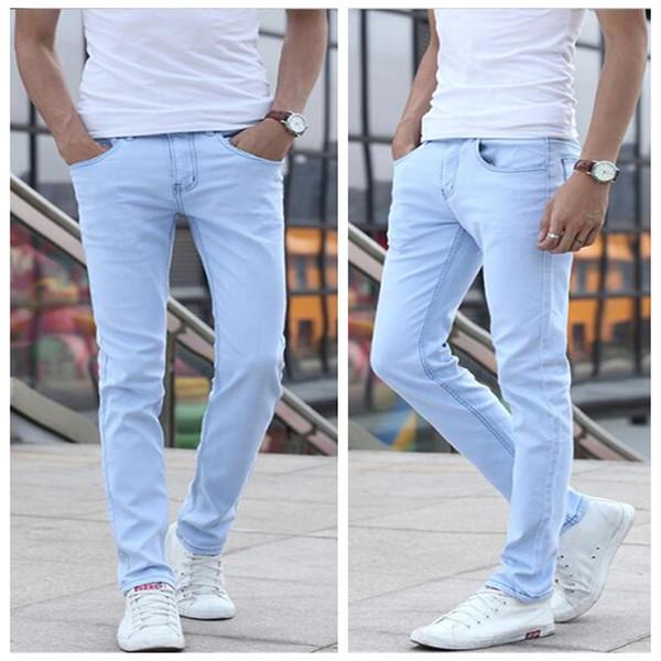 2018 piccolo tratto di luce blue jeans da uomo in cotone 28 29 30 31 32 33 34 36 Sky Blue Man pantaloni jeans slim morbido e confortevole