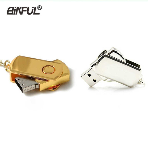 Key Usb Flash 4gb 8gb Gold Metal Pendrive 16gb 32gb 64gb Silver Memory Gift Rotate U Disk Lanyard Pen Drive