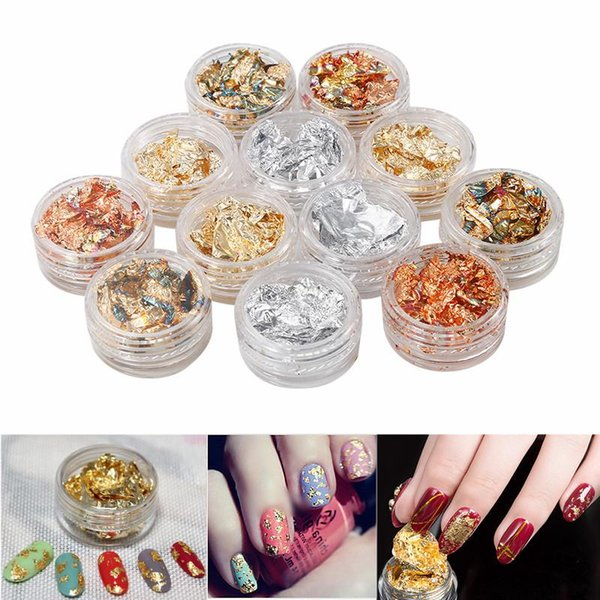 BearPaw Nail DIY Art 12 Pots Gold Silver Glitter Nail Foil Sticker Gel Adhesive Transfer Paillette Flake Laser Decal