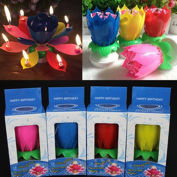 New Colorful Petals Music Candle Children Birthday Party Lotus