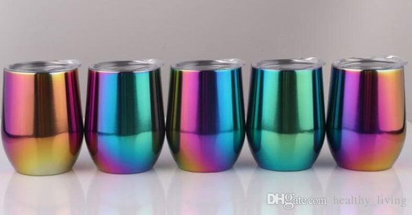 50pcs Rainbow 9oz Egg Cups Wine Glass Wine tumbler double wall stainless steel vacuum insulated Cups drinking Beer coffee cups 688