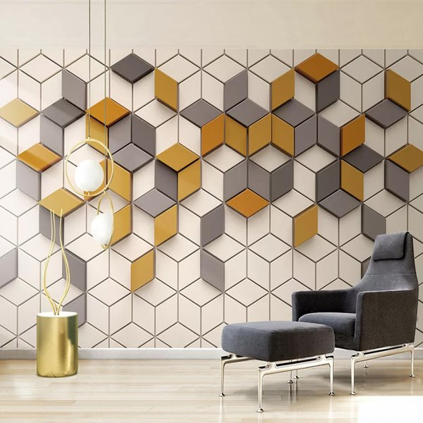 Foto personalizzata murale Carta da parati 3D Mosaico stereoscopico Grata TV Sfondo Pittura murale Soggiorno Camera da letto Carta da parati Decorazioni per la casa