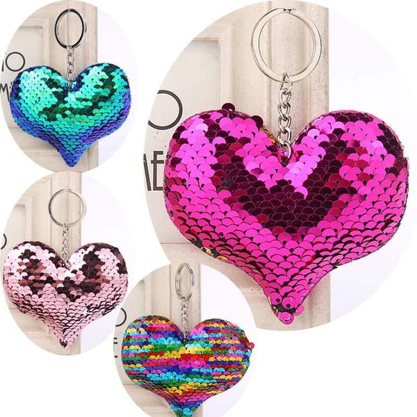 Netter Chaveiro Stern Keychain Glitter Pompom Sequins Key Chain Geschenke für Frauen Llaveros Mujer Car Bag Accessories Key Ring Geldbörsen