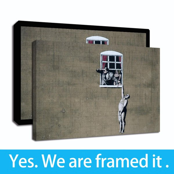Бэнкси Граффити Street Art Холст Жикле подставил HD Печать Ню Человек висит от окна Картина маслом на холсте - готовы повесить - Framed