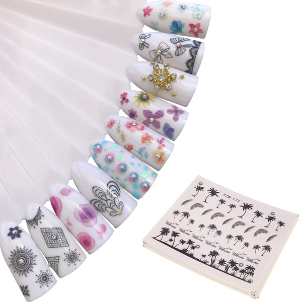 Black Necklace Nail Water Sticker Maple Leaf Dried Flowers Design Slider Nail Art Decal Beauty Foils Decoration